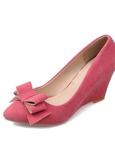 ZQ Zapatos de mujer-Tac¨®n Cu?a-Cu?as / Puntiagudos-Tacones-Oficina y Trabajo / Casual-Vell¨®n-Negro / Azul / Rosa / Rojo / Almendra , pink-us10.5 / eu42 / uk8.5 / cn43 , pink-us10.5 / eu42 / uk8.5 / red-us5 / eu35 / uk3 / cn34