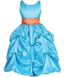 AkiDress Taffeta Pick Up Dress With Sash For Flower Girl & Occasion Turquoise 2-12