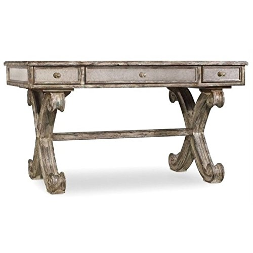 Bowery Hill Mirrored Computer Desk in Weathered Gray