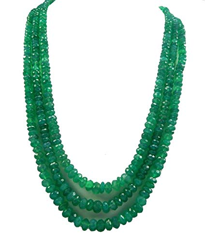 Gems World Beautiful Jewelry 3 Strands Green Onyx Beads 18.5 inch 5-8mm Rondelle Beads Emerald Alternative Faceted Green Beads Gemstone Code-COM-2997
