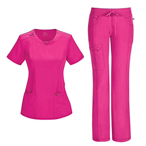 Infinity by Cherokee Womens 2624A Round Neck Top with badge loop & 1123A Straight Leg Low Rise Comfort Pant Medical Uniform Scrub Set Top & Pants (Carmine Pink - XX-Small / XXSmall Petite)
