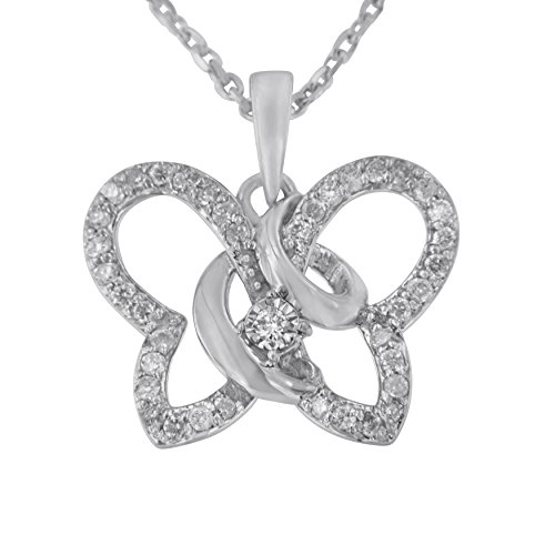 Original Classics Sterling Silver Round Diamond Butterfly Pendant Necklace (1/4 cttw, H-I Color, I1-I2 Clarity)