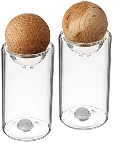 - Sagaform Nature Collection Salt and Pepper Glass Salt & Pepper Shakers with Oak Stopper; 4 1/2-Inch, Set of 2