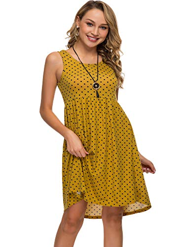 Womens Midi Dress 3/4 Sleeve Polka Dot O Neck Casual Tunic Pleated Loose Vintage Retro Swing Dresses with Pockets (XXL, Mustard Dot)