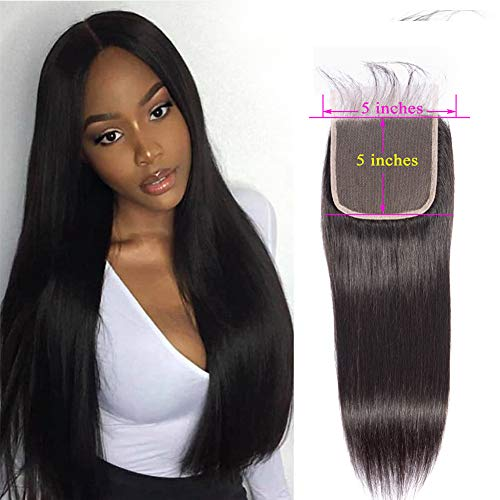 Lace Closure Human Hair 5x5 Lace Base Silky Straight Wave Brazilian Virgin Human Hair Lace Front Closure With Baby Hair Free Part For Black Women Wet And Wavy Cheap Lace Closure Natural Black(16inch)