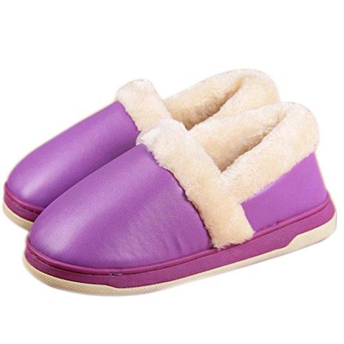 Fasion Nieuwe Mannen Vrouwen Zachte Warme Indoor Slippers Katoen Huis Thuis Antislip Schoenen Paars