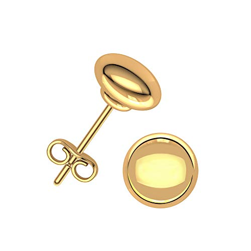 - Plain Gold Jewelry, Dainty, Hollow 5mm Flat Ball Studs in Solid 14K Yellow Gold with Push Backs, High Polished Dainty Earrings