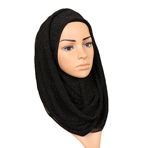 LMVERNA Women glitter shimmer scarf wrinkle Scarf hijab long wrap summer scarves (Black) ()