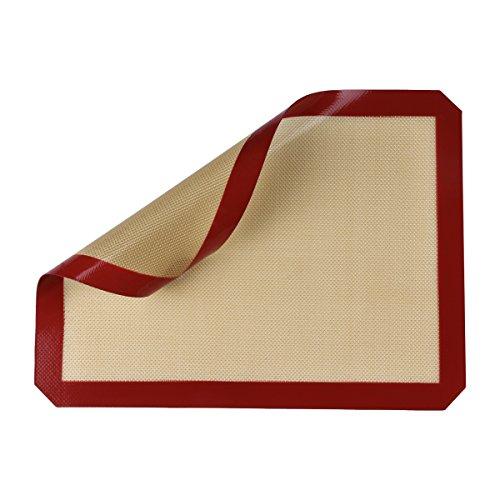 Belmalia Silikon Back-Unterlage für Backblech Backpapier Fiberglas 40x30cm Rot Braun