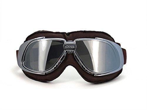 black frame black padding CRG Sports Vintage Aviator Pilot Style Motorcycle Cruiser Scooter Goggle T10 T10BRB Multi-color lens