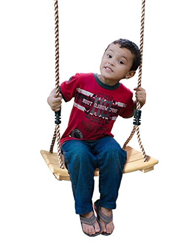 SUMMERSDREAM Little Kids Tree Wood Swing - Wooden Swingset Seat with Adjustable Length Heavy Duty Rope - Indoor or Outdoor Installation - Playground Equipment