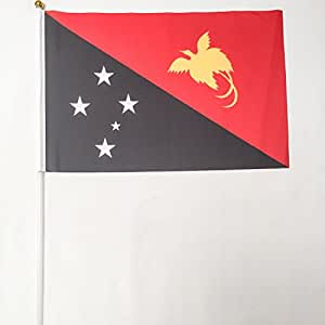 Papua Nueva Guinea 12unidades 4x 6pulgadas Poliéster País mano banderas escritorio saludando con el desfile