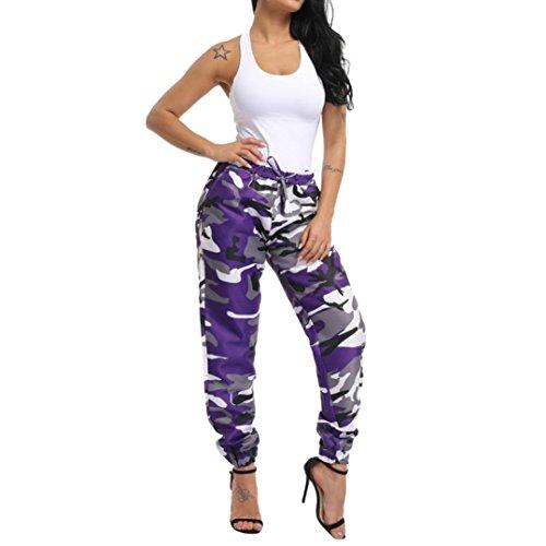 Purple Casual Stampa Sport Pantaloni Per Con Cargo All'aria Somesun Mimetica Mimetici Donne Aperta wOq76xnnT