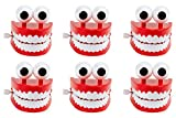 Blue Panda Chomping Teeth 6-Pack Wind-Up Chattering Teeth with Eyes Walking Teeth Toy Perfect Party Favors Novelty Toys and Gag Gifts for Halloween Kids Birthday Parties 2.5 x 2.6 x 2.5 Inches