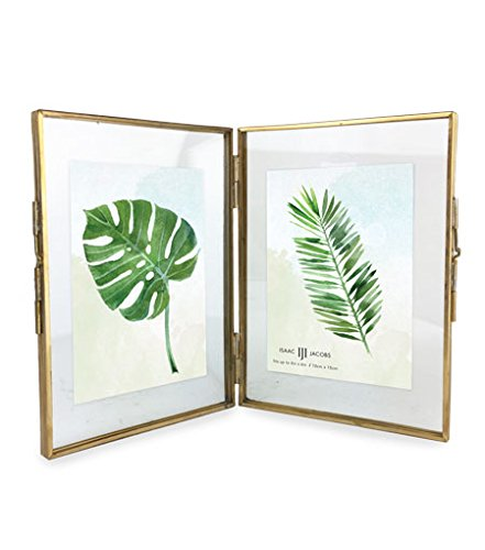 Isaac Jacobs Brass and Glass DOUBLE Floating Frame with Sliding Locket Closures (4x6, Antique - Double Gold Frame