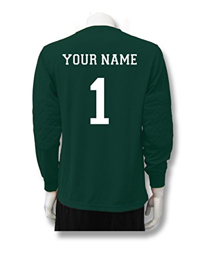(Soccer Goalkeeper Jersey personalized with your name and number - size Adult XL - color Forest)