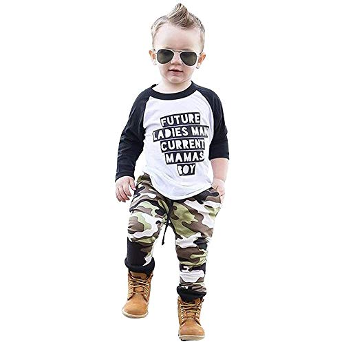 G-Real Baby Clothes Set,Toddler Kids Baby Boy Clothes Letter T-Shirt Tops+Camouflage Pants Outfits Set+Fall Winter