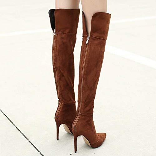 Femmes Aiguille Taoffen Cuissardes Cavalières Haut Brown Bottes Chaussures Talon Sexy q8tv8wx7