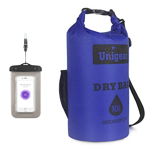 Unigear Waterproof Dry Bag, Roll Top Lightweight Floating Dry Sack for Kayaking, Boating, Fishing, Camping and Hiking with Waterproof Phone -