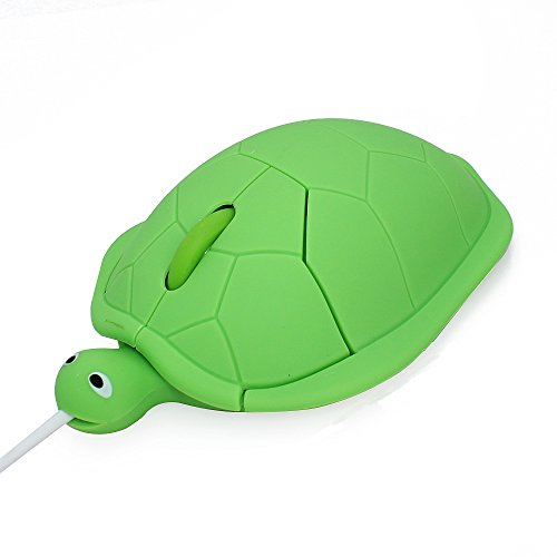 Usbkingdom Cute Animal Turtle Shape USB Wired Corded Mouse Kids Children Optical Mice for Notebook PC Laptop Computer 1200DPI 3 Buttons with 3.6 Feet Cord (Green)