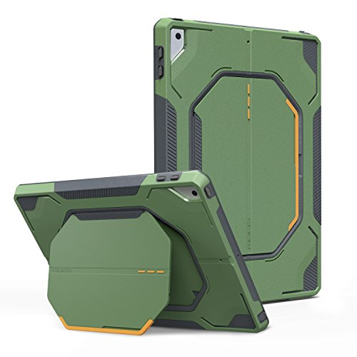 MoKo Case Fit iPad 9.7 2018/2017 - [Heavy Duty] Shockproof Full Body Rugged Hybrid Stand Cover with Built-in Screen Protector Compatible with Apple iPad 9.7 Inch (iPad 5, iPad 6), Army Green