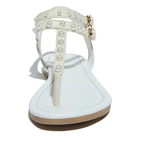 COOLCEPT Mujer Moda Elegant Tacon de Vaquero Flip Flop Sling Beach Sandalias Ankle Strap 601 Blanco