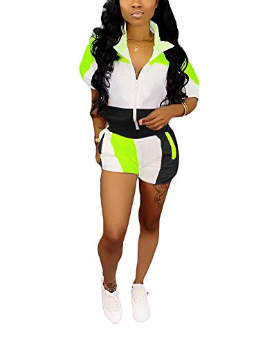 Womens Casual Two Piece Outfits Zip Up Patchwork Half Sleeve Jacket Top Shorts Pants Sets Black + Green Size - Piece Set Two