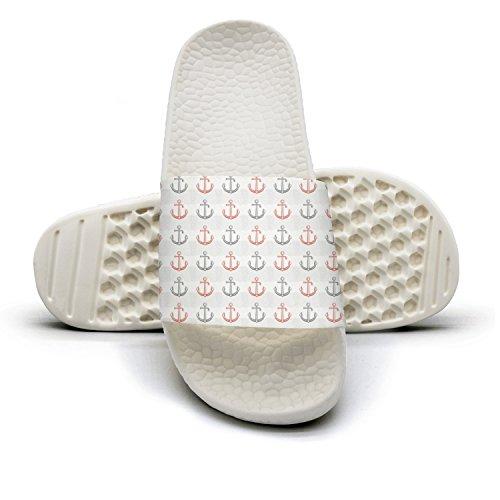 Slide Sandals For Women Retro Gray And Pink Anchor Bath Slipper Anti-Slip House Sandal