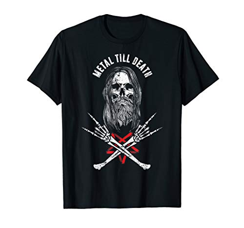 - Rock Heavy Metal Till Death - Bearded Skull Metalhead Shirt