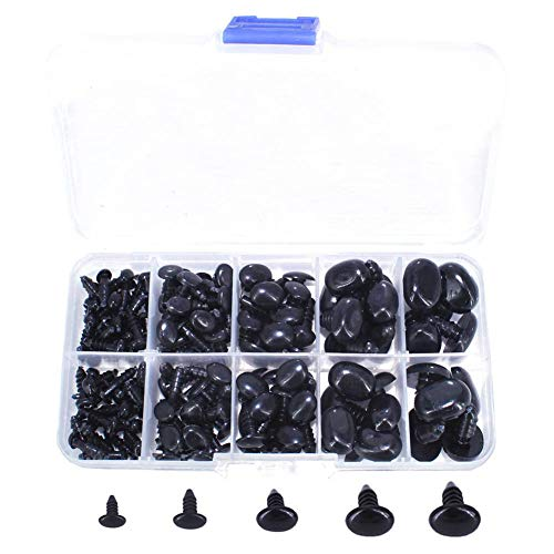 BESTCYC 1Box(125pcs) 5different Size Oval Shape Black Plastic Safty Nose for Teddy Bear Doll Animal Puppet Crafts