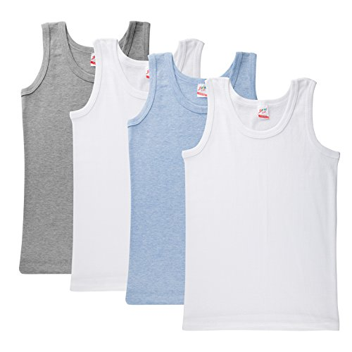 Brix Boys Tank Super Soft 100% Cotton Value Pack Undershirt Tees 4 Pack.