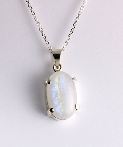Sterling Silver Genuine Moonstone June Birthstone Oval Handcrafted Design Pendant 16+2'' Chain - Adularescence Effect (Blue Pendant Moonstone)