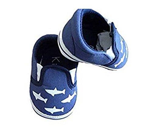 Kimadi - Chaussure Bebe Garcon - Bleu Marine Motif Blanc - Toile Souple 17/18-0/6 mois