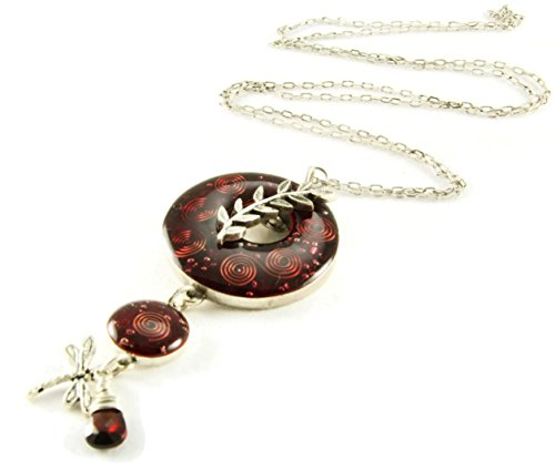 (Orgone Energy Toggle Charm Long Statement Necklace in Antiqued Silver Finish with Garnet)