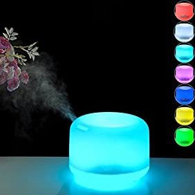 Ikubi 300ml Aromatherapy,Essential Oil Diffuser, Diffuser Portable Ultrasonic Aroma Humidifier with 7 Color Changing LED Lamps, Mist Mode Adjustment and Water-less Auto Shut-off Function (300ml)