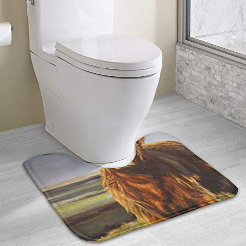 (FTRGRAFE Animal Yak Oil Paintings Contour Bath Rug, U-Shaped Polyester Toilet Floor Mat Non Slip Bathroom Shower Carpet)