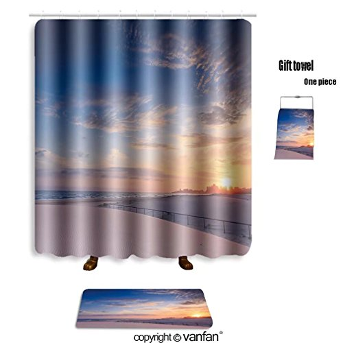Free Shipping Vanfan Bath Sets With Polyester Rugs And Shower Curtain Kirra Beach At Sunrise