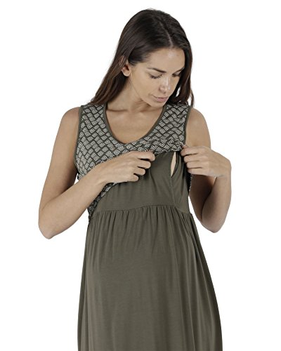 The Essential One - Damen Umstandsbademode Geo Stillkleid / Umstandskleid - Grün - EOM221