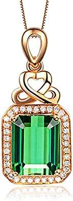 QKL Collar Clásico De Piedras Preciosas De Color Oro Rosa Plateado para Mujer, Elegante Colgante De Diamante Rectangular De Turmalina Verde