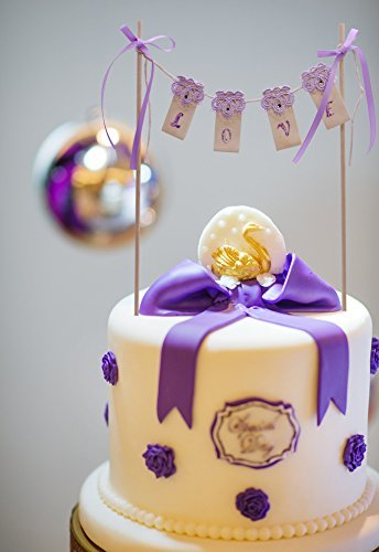 Love cake topper bunting with bows purple elegant noble love cake topper bunting with bows purple elegant noble anniversary birthday party wedding cake decorations junglespirit Image collections
