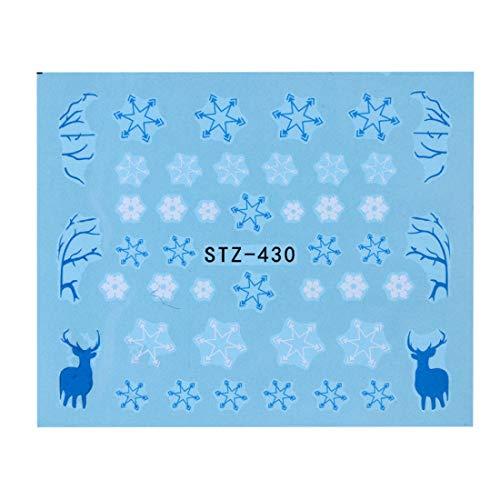 (1 Sheet Water Nail Sticker Christmas Design Temporary Tattoos Elk/Snow Flowers/Owl Pattern Transfer Beauty Nail Art)