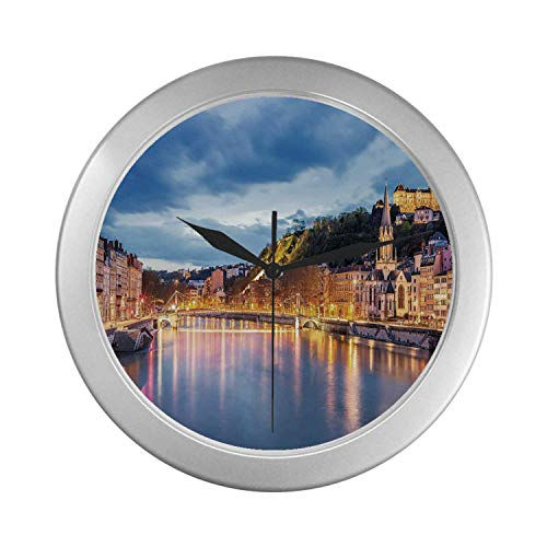 """C COABALLA European Simple Silver Color Wall Clock,View of Saone River in Lyon City at Evening France Blue Hour Historic Buildings for Home Office,9.65"""" D"""
