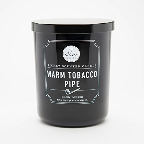 DW Home Warm Tobacco Pipe Scented Candle in Medium Black Jar with Lid Single Wick (Best Smelling Pipe Tobacco)