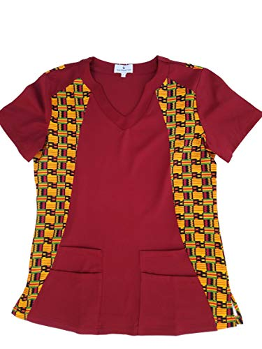 Sankofa African Kente Print Stretch Medical Scrub Top for Women