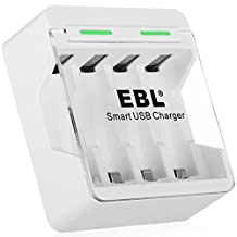 EBL Smart Individual USB Battery Charger for AA/AAA Ni-MH Ni-CD Rechargeable Batteries with USB Cable
