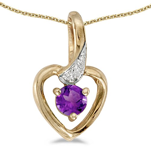 FB Jewels Solid 14k Yellow Gold Genuine Birthstone Round Amethyst And Diamond Heart Pendant (1/6 Cttw.)