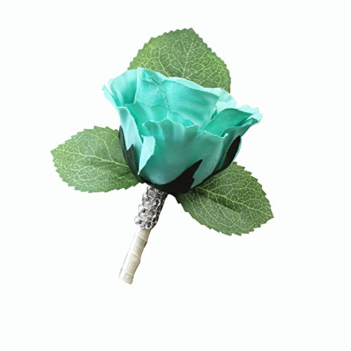 Angel Isabella Boutonniere-Nice hand-crafted rosebud keepsake artificial flower-Pearl headed Pin included (Spa(Aqua Green))