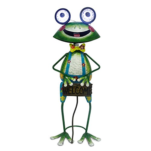 ReLive Retro Metal Frog 19.5 Inch Garden Decor with LED Solar Powered Lights