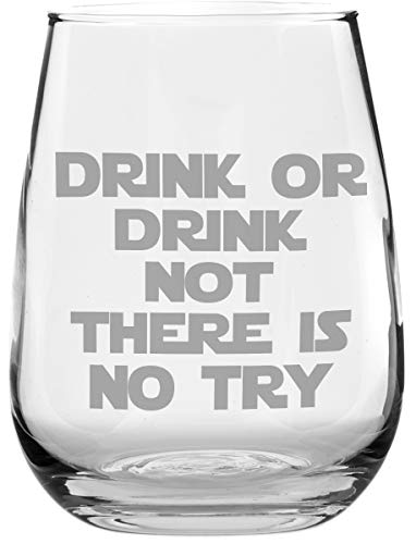 - Funny Stemless Wine Glass - Drink or Drink Not - Makes a Great Gift for Star Wars Fans!