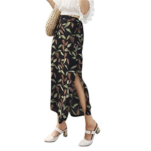 YUCH Lady's Half Dress en Mousseline De Soie Imprim Fourche Ouverte Taille lastique Jupe De Plage D't Black
